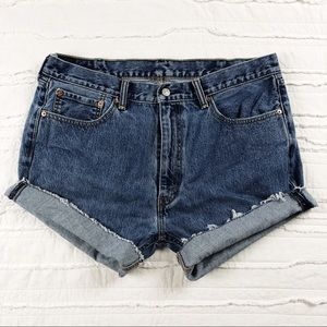 Levi's | distressed cutoff high waisted 505 shorts